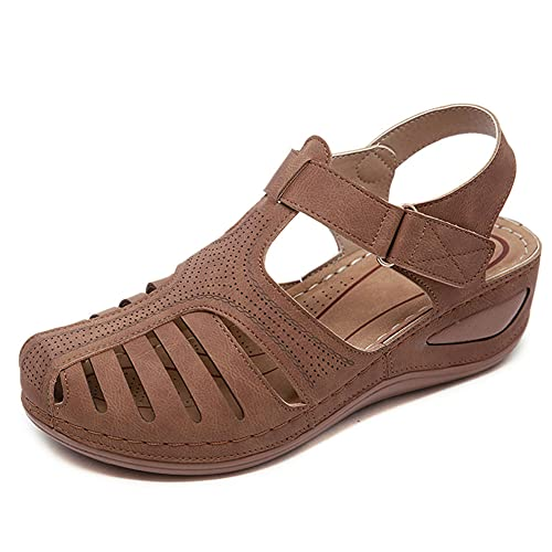 Womens Comfortable Wedges Sandals Close-Toe Walking Flat Sandals Hook and Loop Athletic...