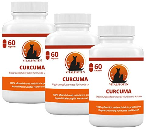 3x60 Kapseln Vitalpfoten Curcuma für Hunde und Katzen Ergänzungsmittel mit Curcumin und Piperin, sanfte Dosierung, Herstellung in Deutschland, höchste Reinheit und Qualität