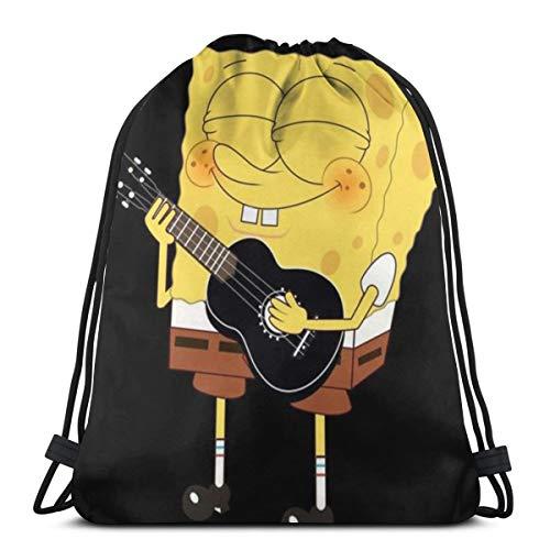 DNBCJJ Klassischer Rucksack mit Kordelzug, SpongeBob, Gitarre, Sport, Aufbewahrungstasche für Männer und Frauen