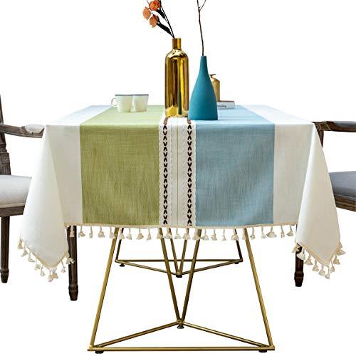 WarmHome Nordico Piazza Tovaglia,Cotone E Lino Tessuto Decorazione Tablecloth Prova di Polvere Senza Scolorimento Table Cloth (Rettangolare 55×94 Anni Pollici)-B 140 * 240cm