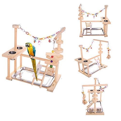 """QBLEEV Parrot Playstand Bird Play Stand Cockatiel Playground Wood Perch Gym Playpen Ladder with Feeder Cups Toys Exercise Play (Include a Tray) (16"""" L10 W15 H)"""