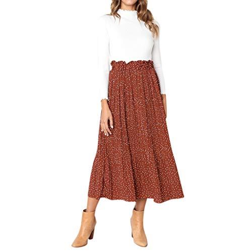 Damenrock Lässiger Retro Kleid mit hoher Taille und langem Kleid Swing Röcke Elegant A-Linie Hohe Taille Midi-Rock(Braun,S