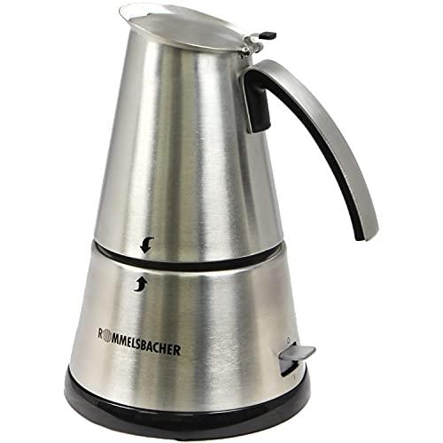 ROMMELSBACHER EKO 366/E Espressokocher elektrisch (3-6 Tassen, 350ml Füllmenge, 2 Edelstahl-Filtereinsätze, Abschaltautomatik, Sicherheitsventil, Ein/Ausschalter, 365 W) Edelstahl