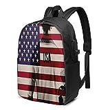 Sac à dos décontracté pour ordinateur portable Motif joueur de football et drapeau américain avec port de charge USB