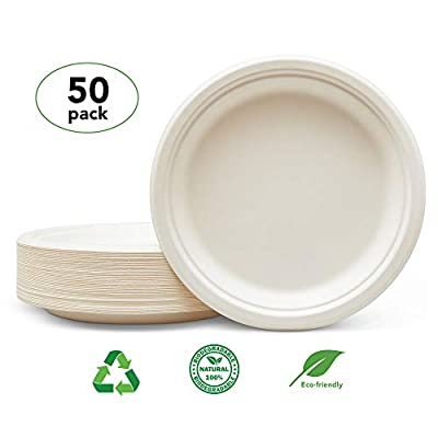 Sindri Products: The Strongest Biodegradable Plates you can buy- Be a Hero and Save the Planet- Buy Echo-friendly- 9 Inch Heavy Duty Plates