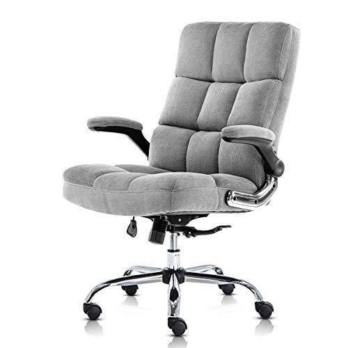 Yamasoro Bürostuhl ergonomischer Schreibtischstuhl Chefsessel mit aufklappbaren Armlehnen, höhenverstellbarer 360° Drehstuhl, Office Chair mit Verstellbarer Lordosenstütze, Büro Samt Stuhl(Grau)