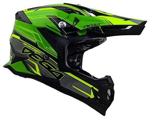 Vega Helmets 32099-204 Unisex-Adult Off-Road MCX Lightweight Fully Loaded Dirt Bike Helmet (Green Stinger Graphic, LG)