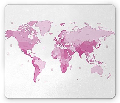 Alfombrilla de ratón Rosa pálido, Mapa del Mundo, continentes, Isla, Tierra, Pacífico, Atlas, Europa, América, África, Alfombrilla Rectangular de Goma Antideslizante, Rosa, Blanco