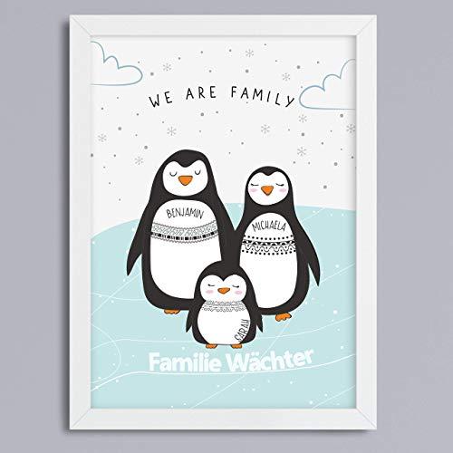 Pinguin-Familie Hintergrund wählbar Kunstdruck ohne Rahmen