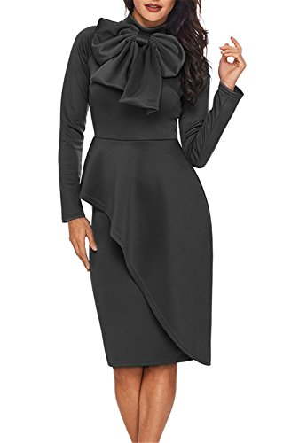 Dokotoo Womens Plus Size Vintage Amazon Modest Ladies High Neck Long Sleeve Ruffle Peplum Knee Length Bodycon Midi Pencil Cocktail Dresses Grey Large