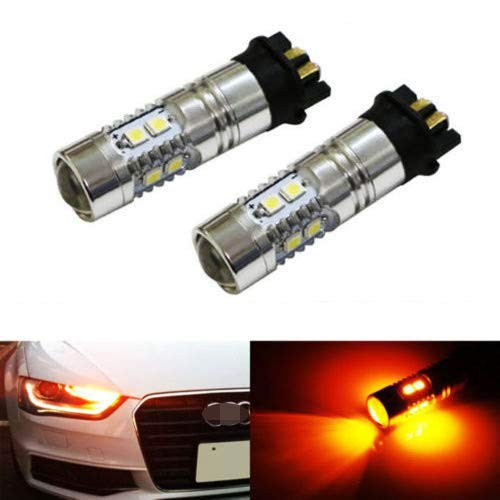 iJDMTOY (2) Amber Yellow Error Free PWY24W LED Bulbs Compatible With Audi A3 A4 A5 Q3 VW MK7 Golf CC Ford Fusion Front Turn Signal Lights, BMW F30 3 Series DRL Lamps