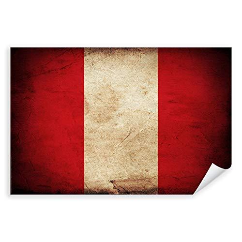 Postereck - 0366 - Vintage Flagge, Fahne Peru Lima - Unterricht Klassenzimmer Schule Wandposter Fotoposter Bilder Wandbild Wandbilder - Poster mit Rahmen - 29,0 cm x 19,0 cm