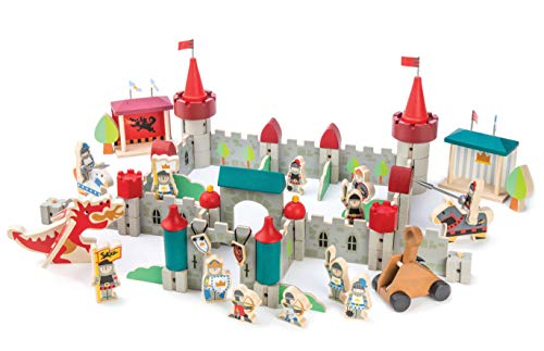 Premium Royal Castle - 96 Pc Set - Wooden Castle Building Blocks Playset - Medieval Knights, Dragon, Jousting Themed - Premium Eco-Friendly Materials - Encourage Imaginative & Creative Role Play