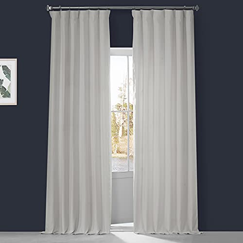 HPD Half Price Drapes LN-XS17 French Linen Curtains for Room Decorations Light Filtering 50 X 96 (1 Panel), LN-XS1704-96, Crisp White