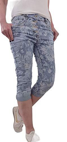 Lexxury - Bermuda da donna in denim Capri, pantaloni corti con stampa floreale o fiori Foglie in denim. XS