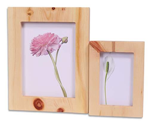 Dekobox Bilderrahmen Set aus Zirbenholz - für 13x18 und 9x13 cm Fotos