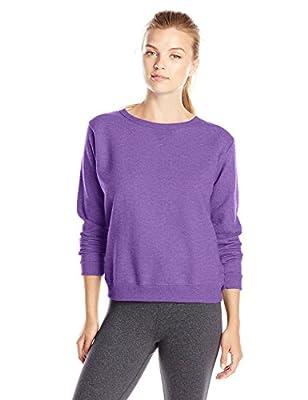 Hanes Women's V-Notch Pullover Fleece Sweatshirt, Violet Splendor Heather, Small