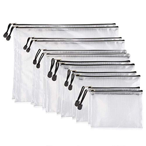 YOTINO 12er Dokumententaschen, weich, extrastark, wasserdichtReißverschlusstaschen, Mesh Bag, Für Papierformate DIN B4,A4,B5,A5,B6,A6