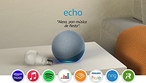 Echo (4.ª generación) | Sonido de alta calidad | Azul grisáceo + TP-Link Tapo Bombilla Inteligente (E27), compatible con Alexa