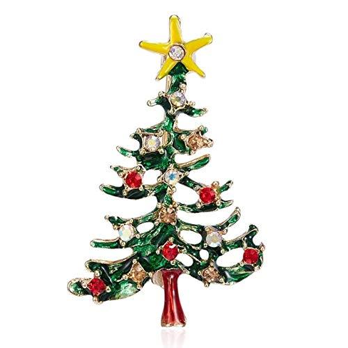 Broche de diamantes de imitación de Navidad, esmalte, campanas de árbol de Navidad, guirnalda de campanas de Santa, copo de nieve, broches de estrella para mujer, regalo de Navidad-Bc18Y0369-1