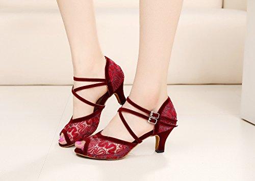 MINITOO ,  Damen Tanzschuhe, rot – Red-6cm Heel – Größe: 41 - 6
