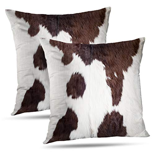 Set of 2 Decorative Pillows Case Throw Pillow Covers for Couch Indoor Bed 18 x 18 Inch,Cow Skin Abstract Africa Animal Black Fabric Farm Fashion Home Sofa Cushion Cover Pillowcase Gift