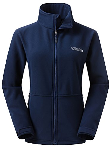 Wantdo Women's Stand Collar Fleece Softshell Windproof Jacket Cycling Navy L