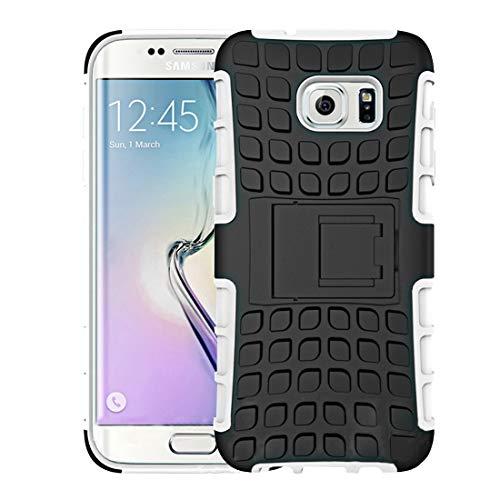 Yiki Nuevo for Galaxy S7 Edge / G935 Estuche Combinado de Textura de neumático de Doble Color 2 en 1 con Soporte Negro Separable (Negro) (Color : White)