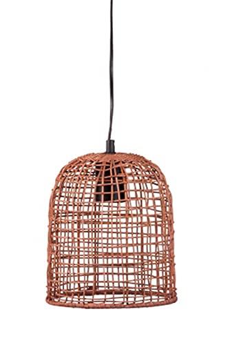 Vetrineinrete Lampada a sospensione con paralume in rattan lampadario E27 rustico stile vintage retrò intrecciato P85 (Beige scuro)