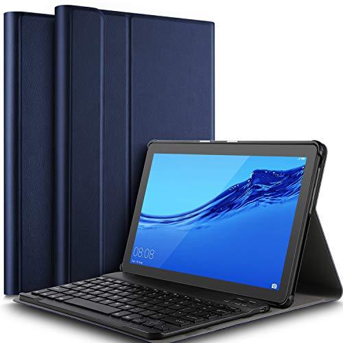 IVSO Tastatur Hülle für Huawei MediaPad T5 10, [QWERTZ Deutsches], Superdünn Ständer Schutzhülle mit magnetisch abnehmbar Wireless Tastatur für Huawei MediaPad T5 10 10.1 Zoll 2018, Blau