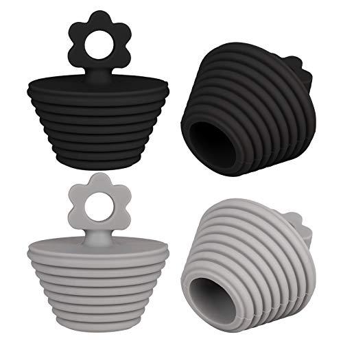 4 Stücke Abflussstopfen Universal Waschbeckenstöpsel Abflussstopper Badewannenstöpsel Wasserstöpsel für Küche, Badewanne und Waschbecken, Schwarz&Grau