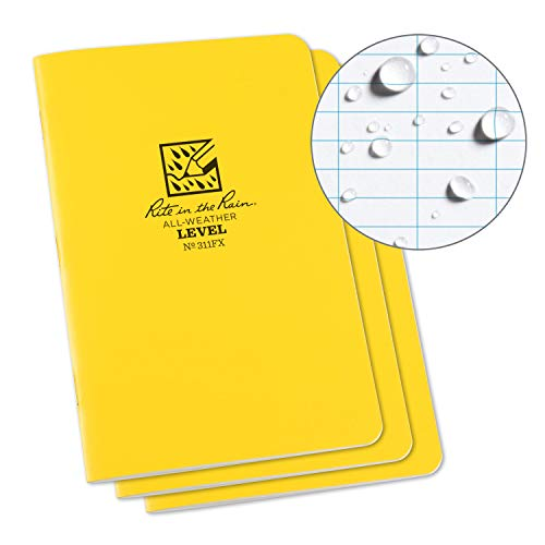 """Rite in the Rain All-Weather Stapled Notebook, 4 5/8"""" x 7"""", Yellow Cover, Level Pattern, 3 Pack (No. 311FX)"""