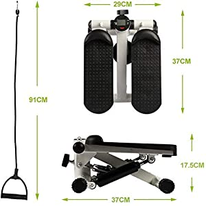 BIG.TREE Exercise Equipment Workout Equipment Fitness Mini Stepper with Adjustable Resistance Bands