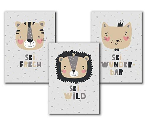 3er Set Kinderposter | Bilder Kinderzimmer Deko Mädchen DIN A3 | Deko Babyzimmer Mädchen Deko | ohne Bilderrahmen | Dekoration Kinderzimmer Mädchen, Tiger, Löwe, Katze