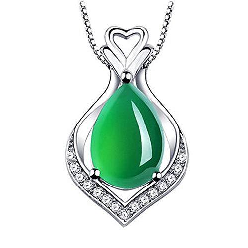 WEIKAI Collar para mujer con colgante de calcedonia chapado en platino, con forma de pera, ágata verde natural en forma de corazón, con calcedonia