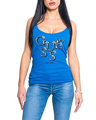 Guess Camiseta de Tirantes de Mujer con Escote Redondo Azul y pedrería...