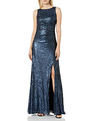 Adrianna Papell Women's Sleevless Sequin Paillette Halter Neck Gown, Midnight, 14 (Apparel)