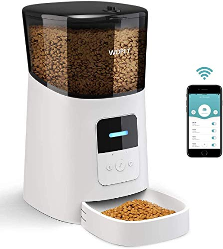 WOPET 6L Automatic Cat Feeder,Wi-Fi Enabled Smart Pet Feeder for Cats and Dogs,Auto Dog Food Dispenser with Portion Control, Distribution Alarms and Voice Recorder Up to 15 Meals per Day