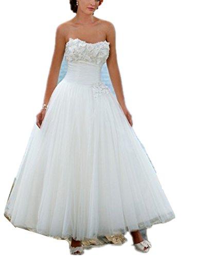 YASIOU Brautkleid Damen Kurz Weiß A Linie Tüll Prinzessin Trägerlos Tee-Lang Strand mit Corsage Hochzeitskleid