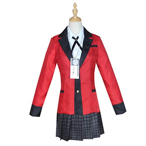 Hengqiyuan Costume de Cosplay, Anime Cosplay Costume lycée Uniforme Halloween fête Cosplay Costume pour Femmes Filles Ensemble Costume,Rouge,S