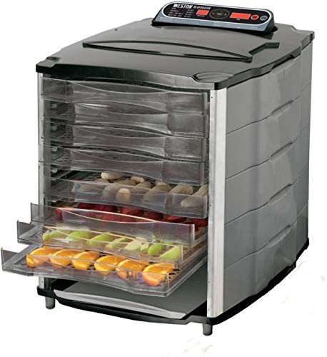 Weston 28-1001-W for Jerky Making, Preservation Drying 10 Tray 11x13 Digital Food Dehydrator, 11 sq. Feet Space, Silver