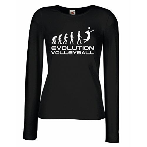 lepni.me Camisetas de Manga Larga para Mujer La Historia y la evolución del Juego de Voleibol (Large Negro Blanco)