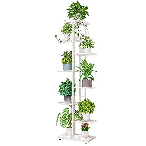 Pflanzenständer Indoor Outdoor Metall Mehrere Blumentopfhalter Regal Pflanzen Lagerregal für Garten Balkon Wohnzimmer… (Weiß, 8-Tier 9 Töpfe)