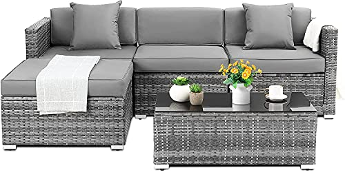 5 Piece Rattan Patio Furniture Sets Outdoor Garden Sofa Set, with Cushions and Pillows, Patio...