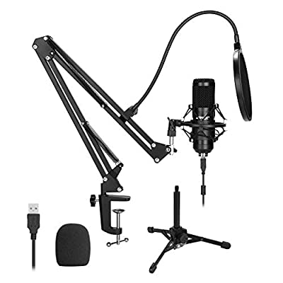 USB Microphone Kit, AGPtEK 192KHz/24Bit USB Condenser Studio Podcast Microphone with Scissor Arm Stand, Metal Shock Mount, Pop Filter, Mounting Clamp, Metal Tripod, Mic Windscreen & Cable