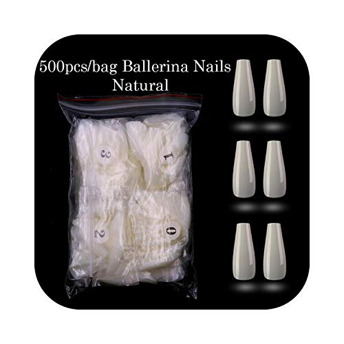 Appuyez sur les ongles 500pcs / opp Ballerina Nail Art Tips Appuyez sur la forme longue Professional False Nails Full Cover Acrylic Tip 10Sizes-natural-500pcs-,