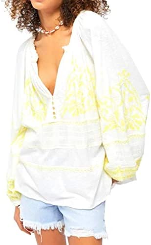 Free People Persuasion Boho Folk Embroidered Tunic Top Blouse Ivory Medium M Women s 8 10 product image