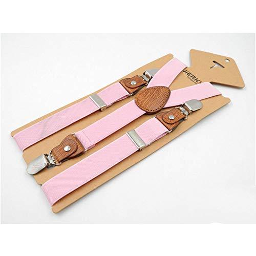 GMANKEE Kinder-Hosenträger 3 Clips Y-Förmiger Riemenclip 2,5 X 75 cm Kinder-Hosenträger Für Männer Und Frauen 3 Clips Braun, Pink