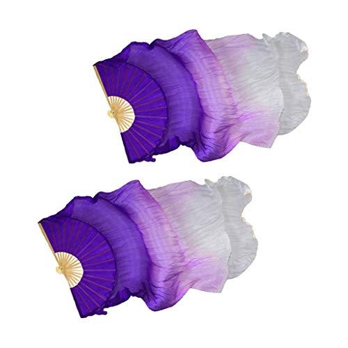 F Fityle Abanico de Seda Hecho a Mano para Danza Del Vientre, Velo de Baile, Abanico Largo - Púrpura + blanco, 180cm