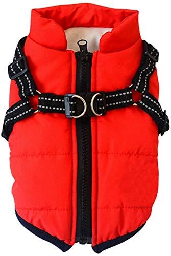 PetyHope - Abrigo impermeable cortavientos para perro, cachorro, forro polar reflectante, talla XL, color rojo